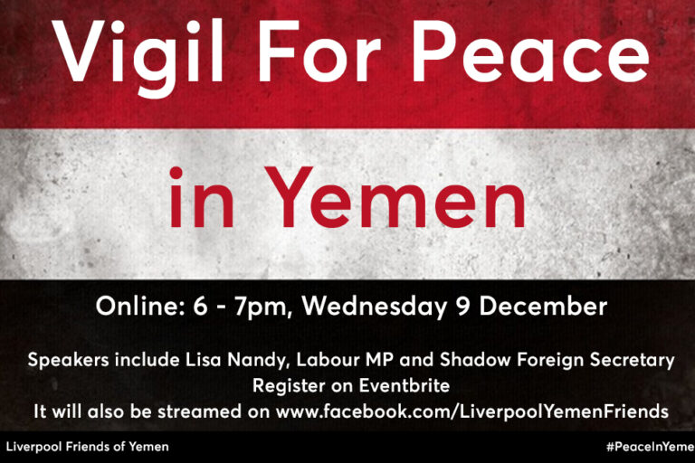 Online: Vigil for Peace in Yemen - Wed 9 Dec
